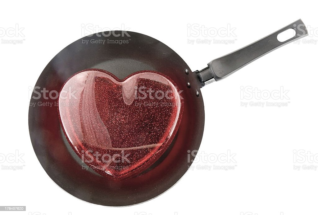 Frying pan with the big red heart. royalty-free stock photo