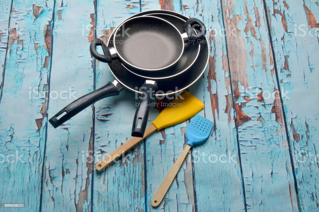 frying pans stock photo
