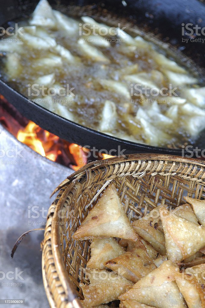 Frying Samosas, Burma (myanmar) royalty-free stock photo