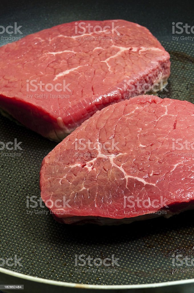 Frying Steaks royalty-free stock photo