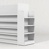 istock Fsu retail stand free standing unit posm plain mockup display stand gondola end 1289971138