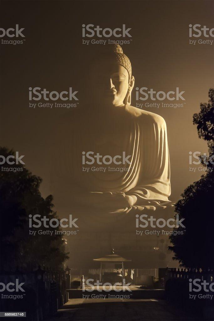 80 ft Buddha in Bodhgaya stock photo