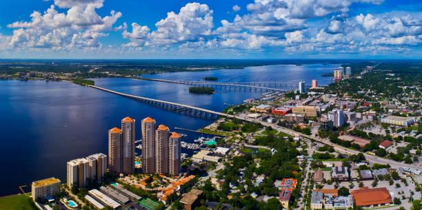 Ft Myers & Caloosahatchee River Aerial, FL stock photo