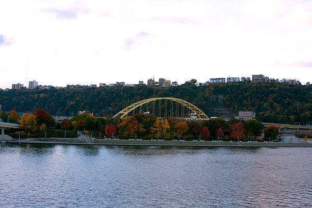 Ft. Pitt bridge in Pittsburgh North Shore shot of the Ft. Pitt Bridge in Pittsburgh Pennsylvania pittsburgh bridge stock pictures, royalty-free photos & images