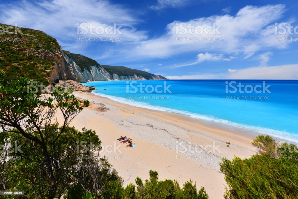 Fteri beach stock photo