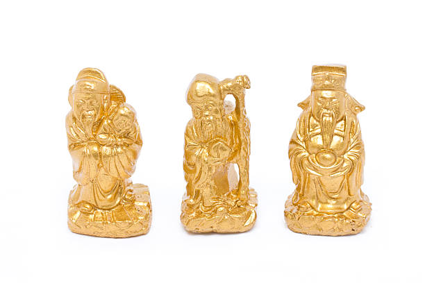 Fu Lu Shou, Chinese lucky god graven image. stock photo