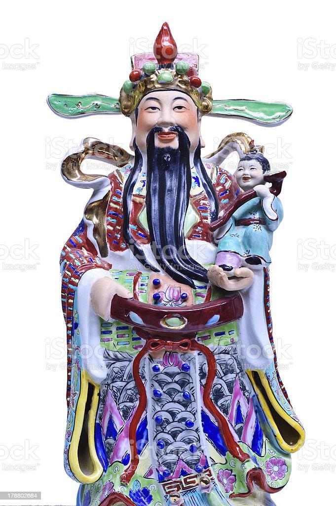 Fu Lu Shou statues in Chinese Shrine stock photo