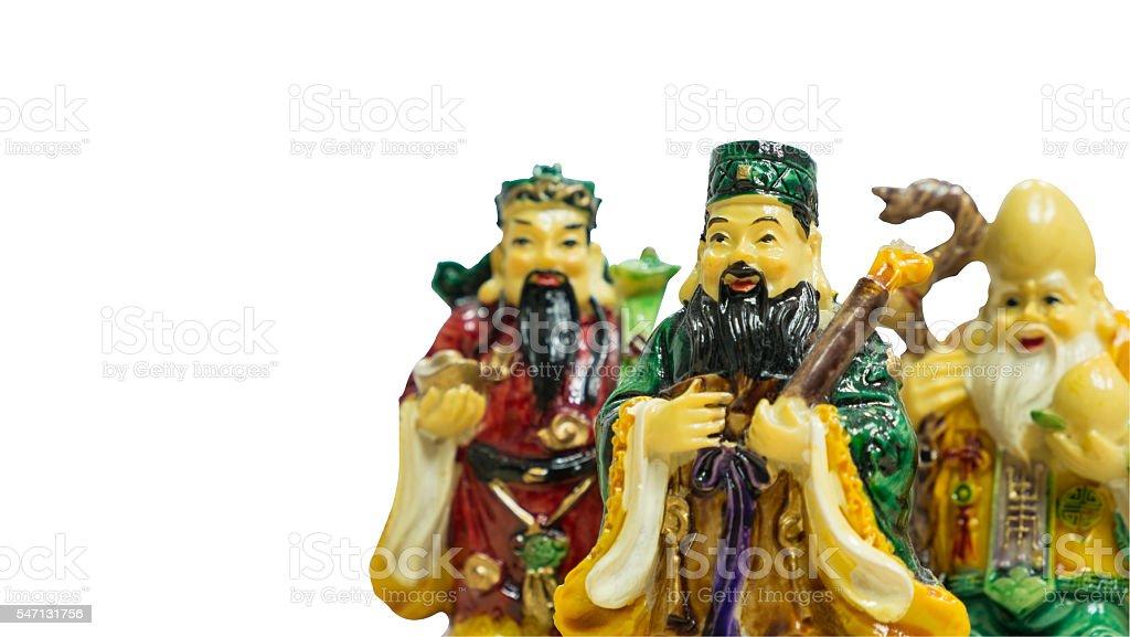 Fu Lu Shou statues stock photo