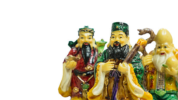 Fu Lu Shou statues stock photo