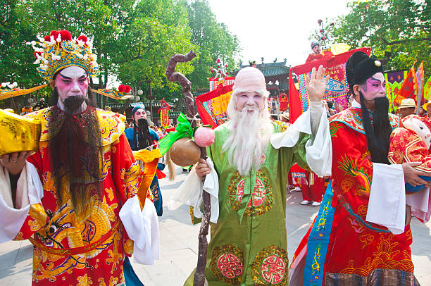 Fu, Lu, Shou three deities stock photo