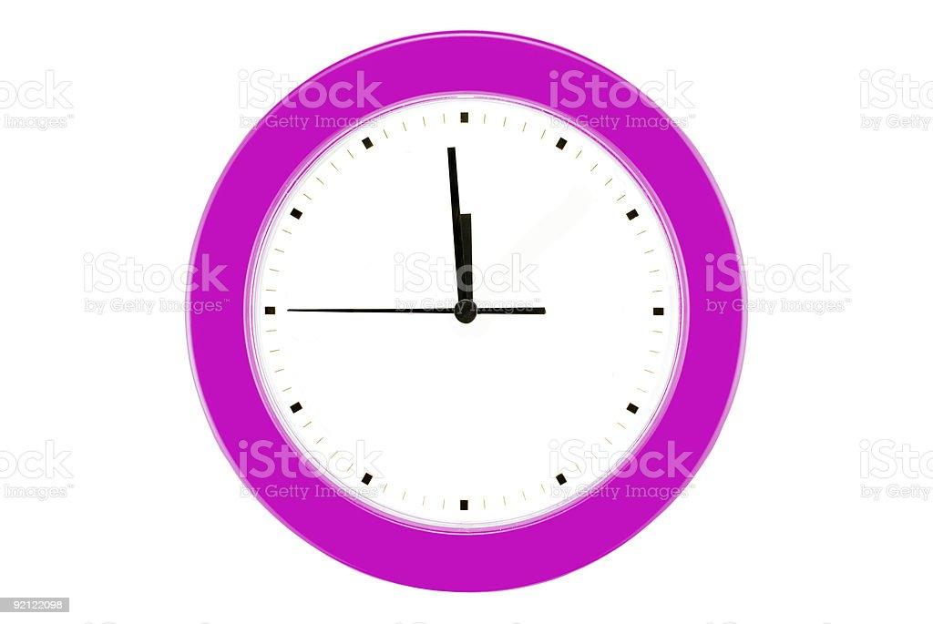 Fuchsia Wall Clock - 11:59 royalty-free stock photo