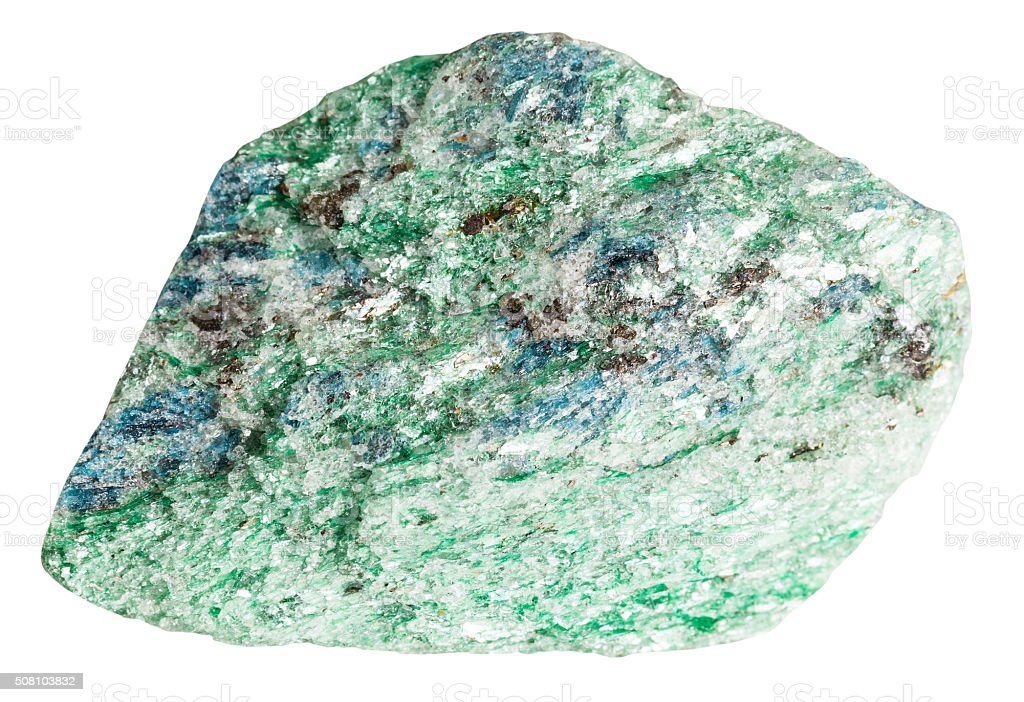 Fuchsite (chrome mica) mineral stone isolated stock photo