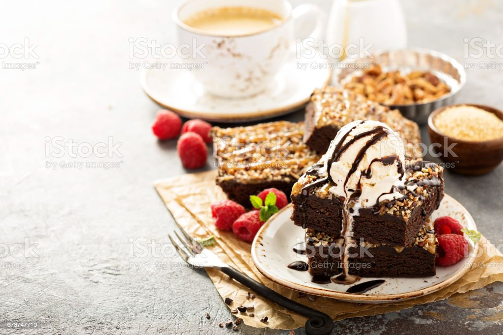 Fudgy brownies with nuts and caramel royalty-free stock photo
