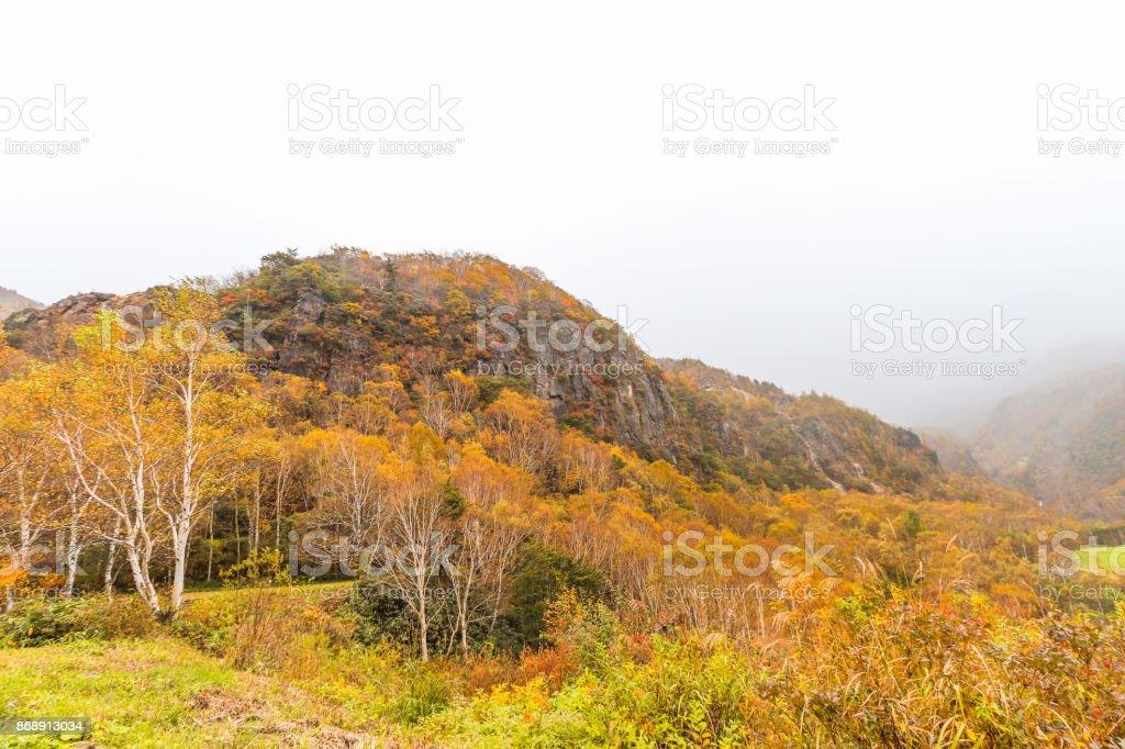 Fudodaki in autumn of Yonago, Suzaka-shi, Nagano Prefecture,Japan. stock photo