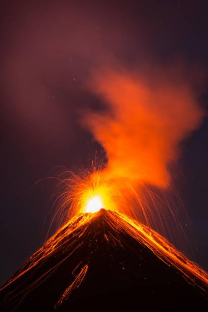 Fuego volcano eruption stock photo