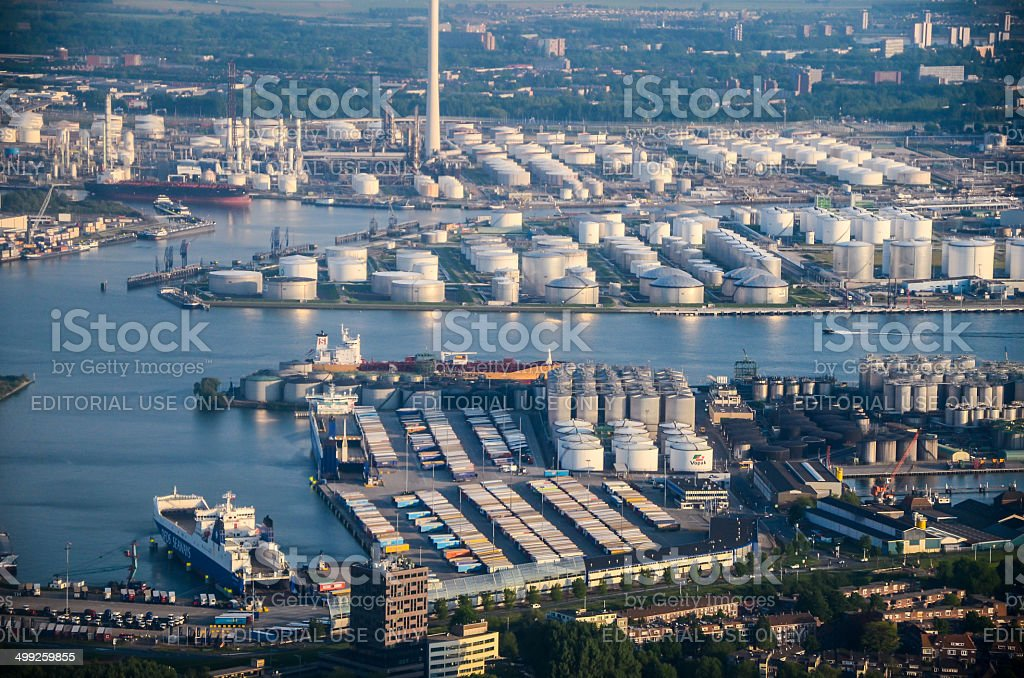 Fuel and gas storage tanks at waterfront in Rotterdam stock photo