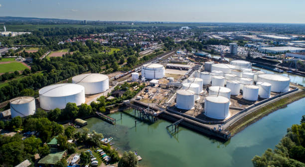 Fuel and oil tanks in the harbor - aerial view stock photo