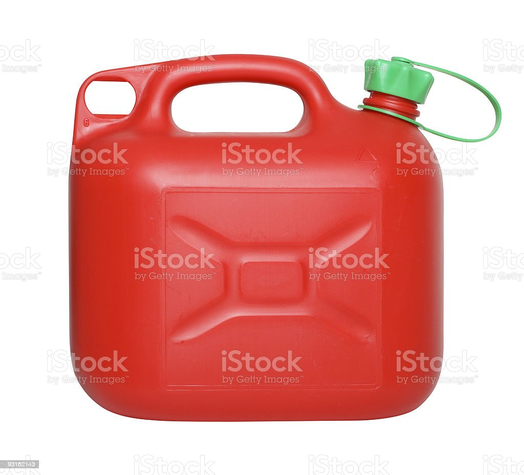 Fuel can on white stock photo