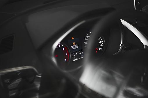 Fuel Consumption Theme Empty Tank Indicator On Car Dashboard Written