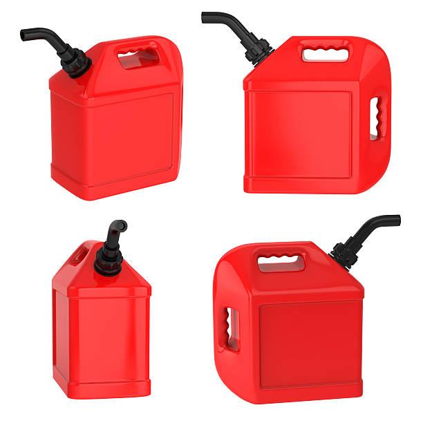 Benzin container Benzinkanister red jerrycan, isoliert auf weiss – Foto