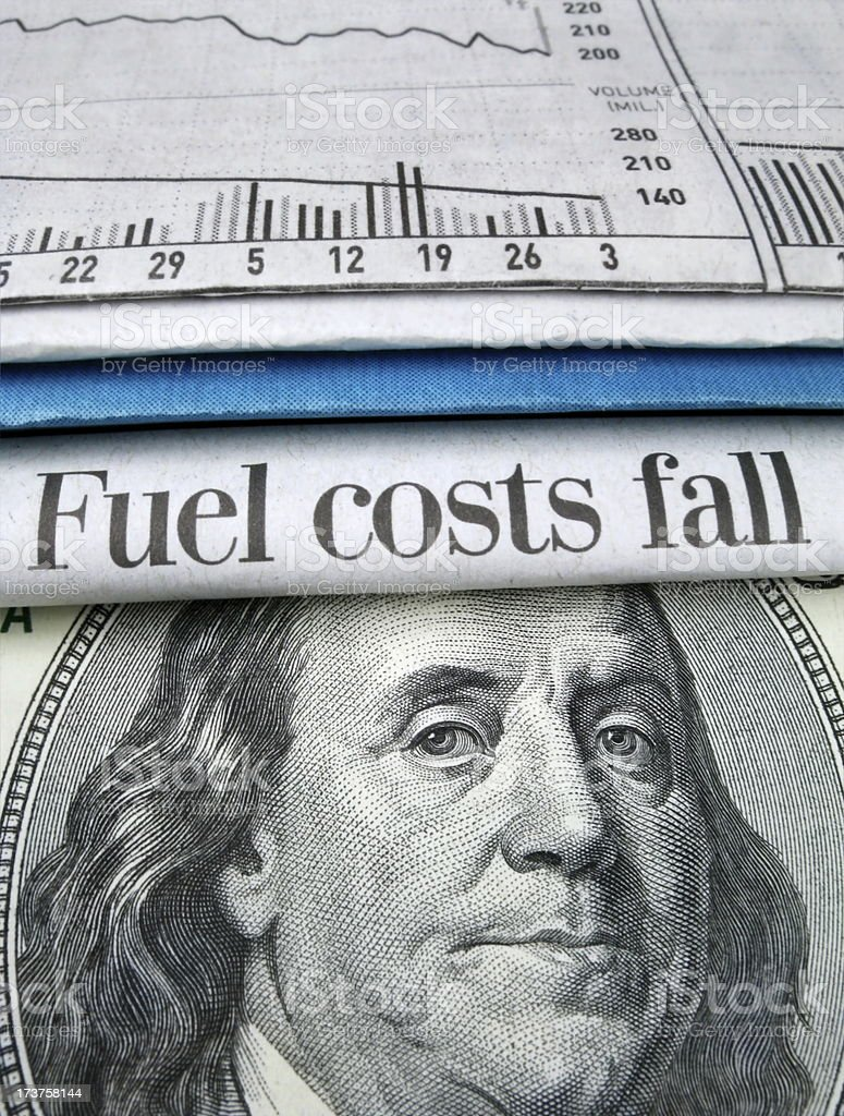 Fuel Costs Fall stock photo
