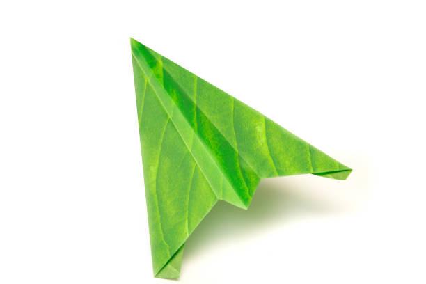 Green leaf eco-friendly paper aeroplane