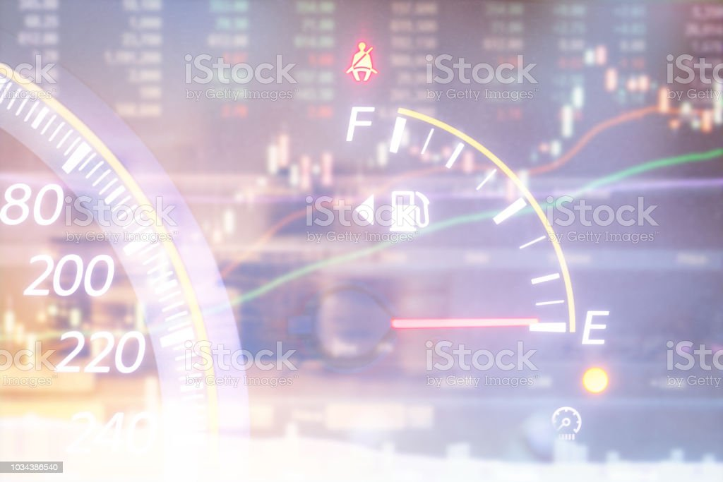 Fuel Gauge And Stock Market Stock Photo - Download Image Now