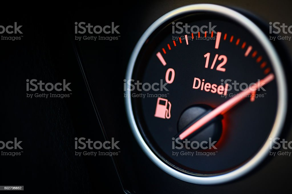 Fuel gauge - diesel stock photo