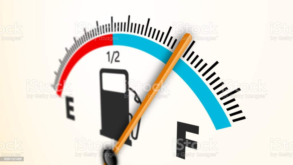 Fuel gauge full-empty-full car dashboard meter stock photo