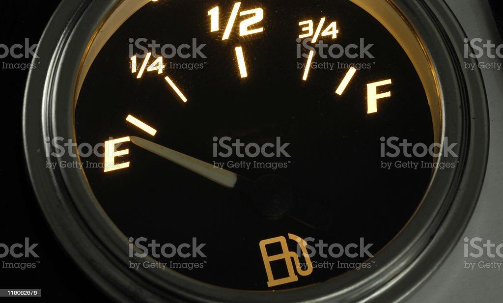 Fuel Gauge on empty royalty-free stock photo