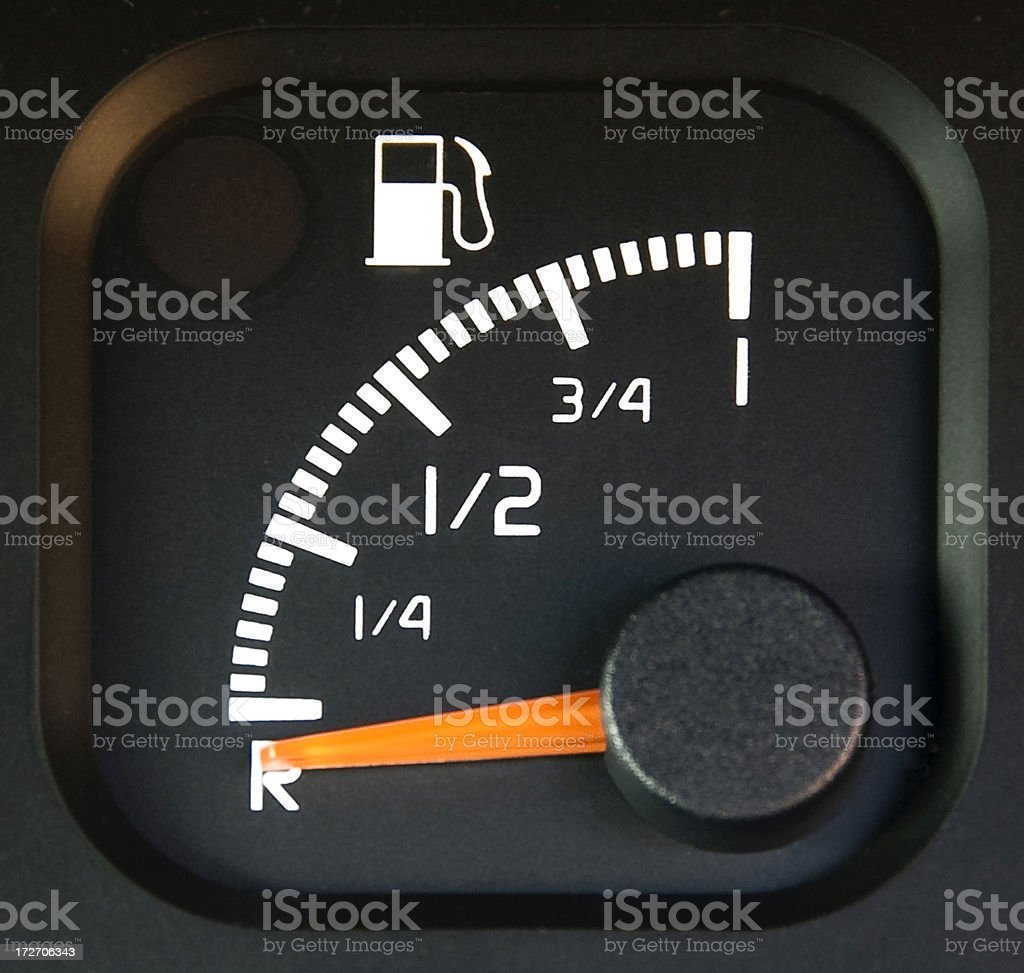 Fuel Gauge On Empty royalty-free stock photo