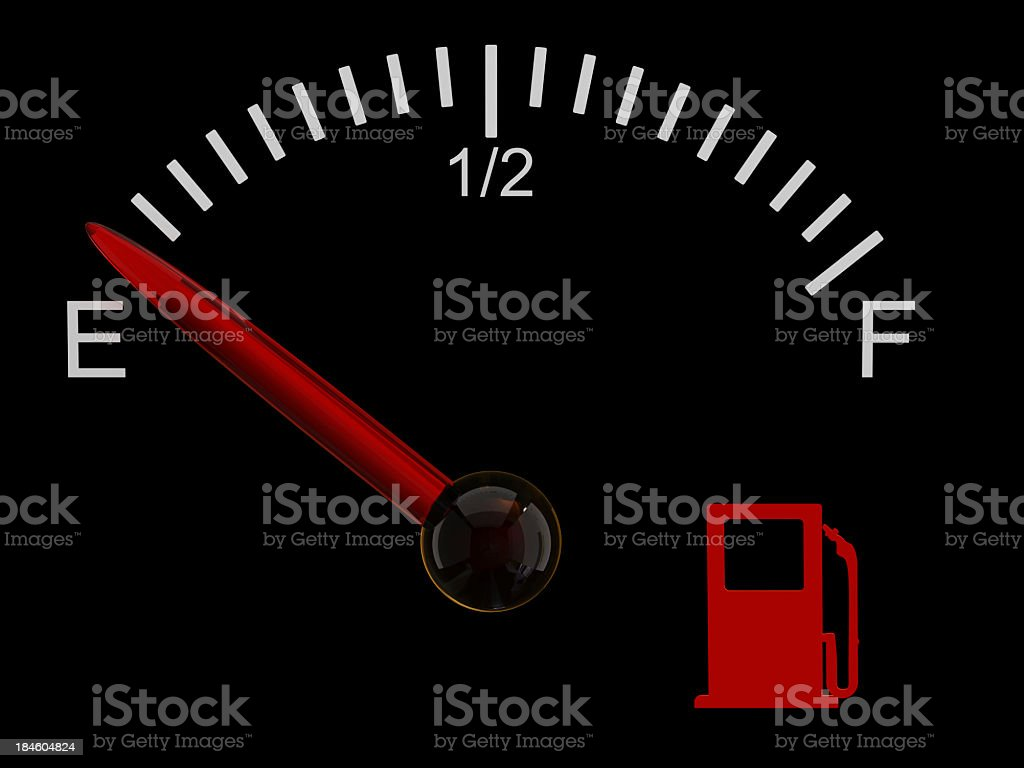 Fuel gauge showing that the tank is on empty royalty-free stock photo