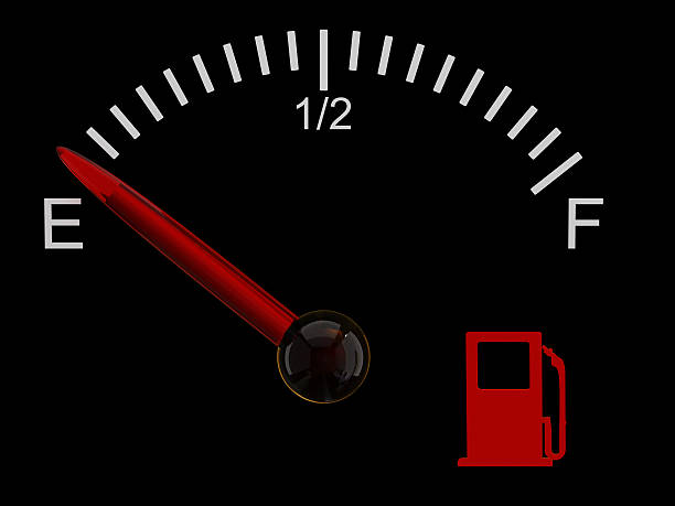 Fuel gauge showing that the tank is on empty stock photo