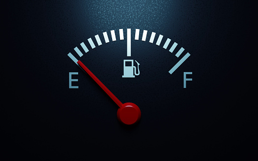 Fuel gauge with a red needle indicating empty. 3d render