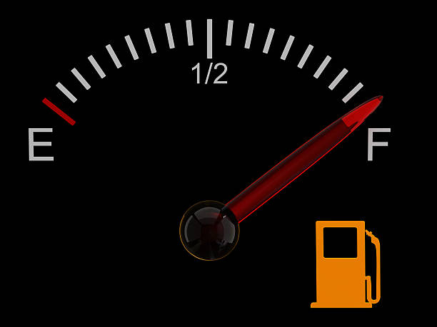Fuel gauge with red needle at full stock photo