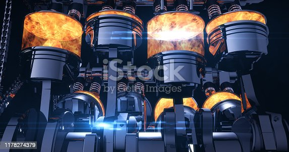 Fuel Injected V8 Engine With Explosions. Pistons And Other Mechanical Parts - 3D Illustration Render