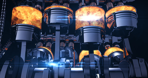 istock Fuel Injected V8 Engine With Explosions - 3D Illustration Render 1178274379