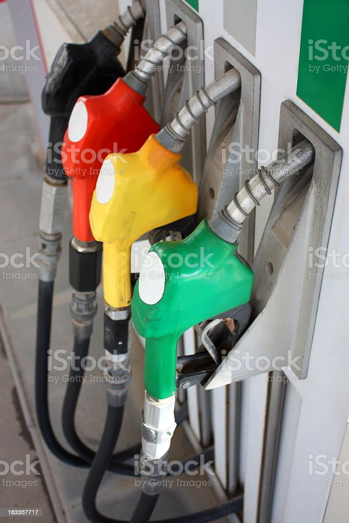 A fuel pump with all the different types clearly marked  royalty-free stock photo