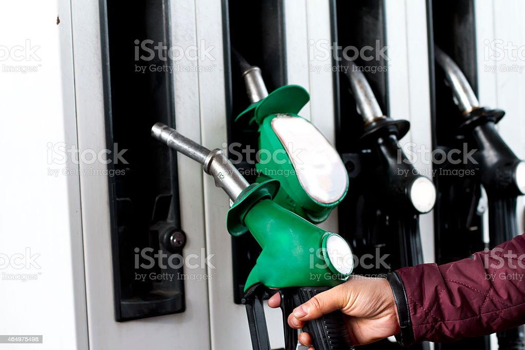 Fuel Pumps at Petrol Station stock photo
