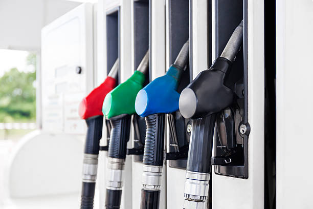 Fuel pumps petrol stock photo