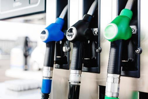 Fuel pumps at Petrol Station.