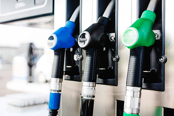 Fuel pumps Fuel pumps at Petrol Station. diesel stock pictures, royalty-free photos & images
