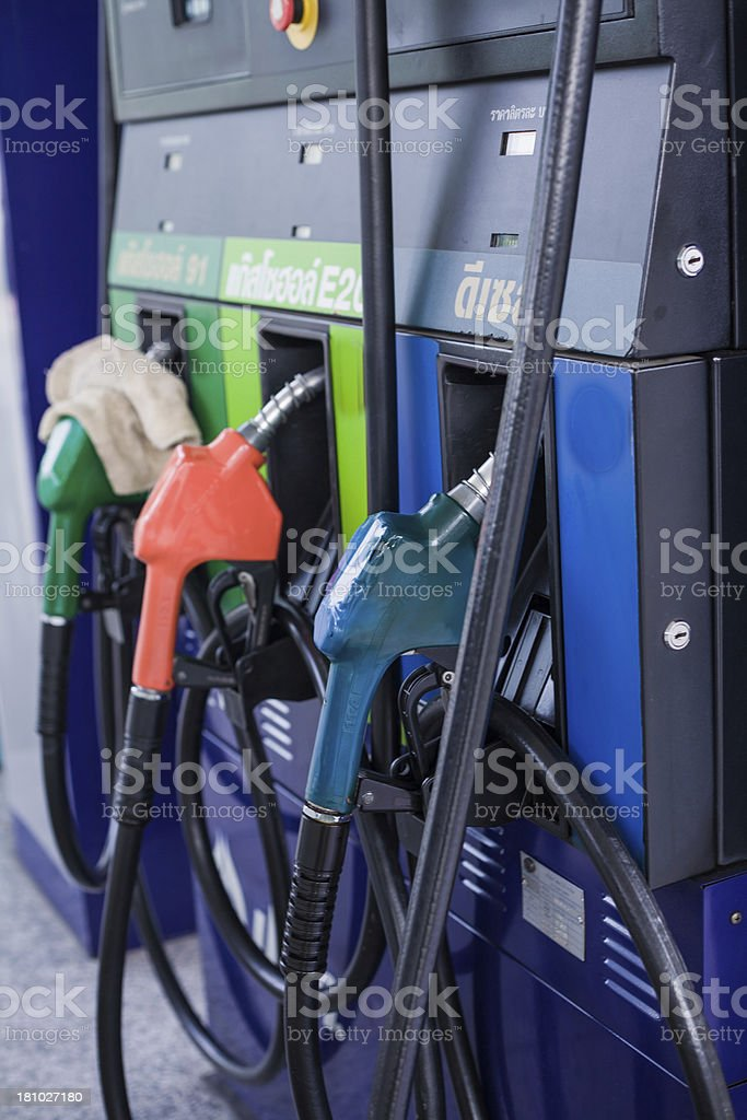 Fuel pumps with many category royalty-free stock photo