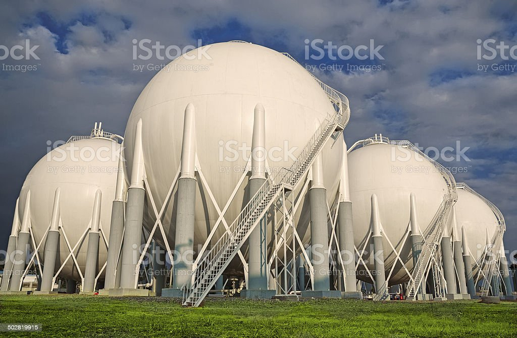 Fuel storage tanks and pipelines stock photo