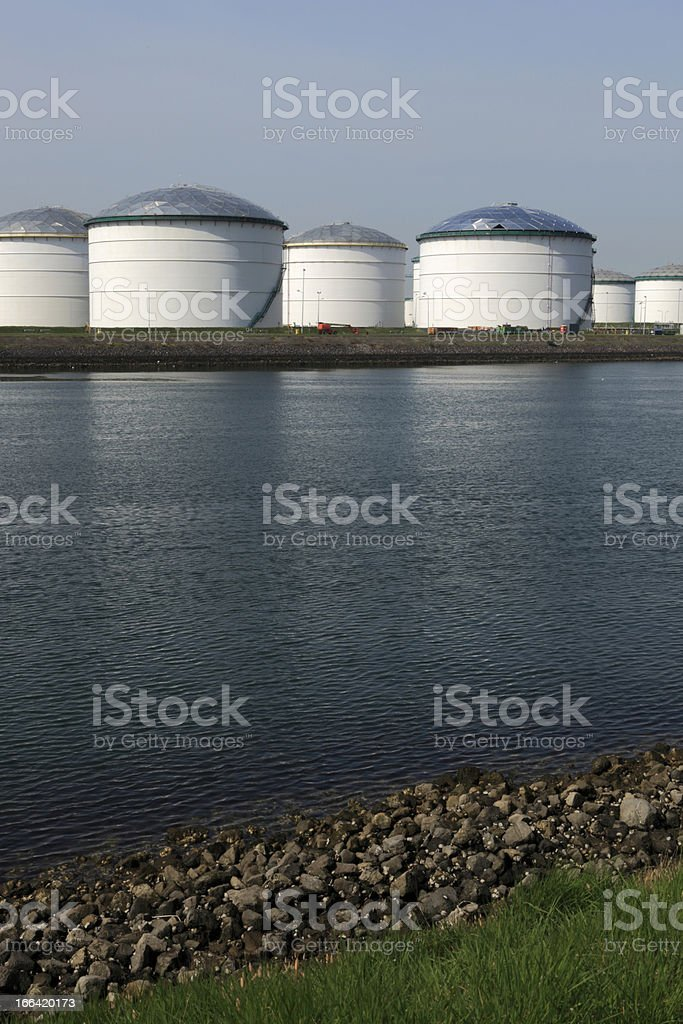 fuel storage tanks at an oil refinery royalty-free stock photo