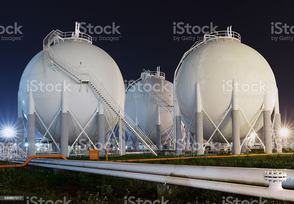 Fuel Storage Tanks at Chemical Plant stock photo