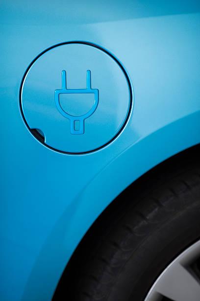 Fuel tank door of electric car. stock photo