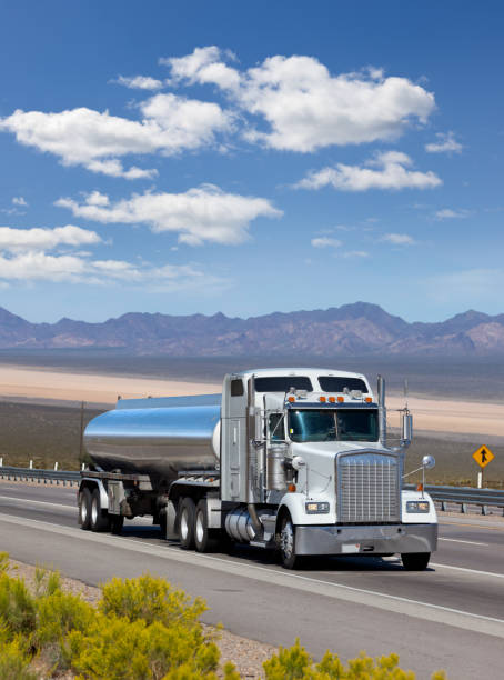 Fuel tanker driving through the Southwest of USA stock photo