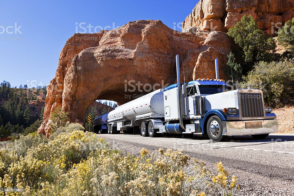 Fuel tanker driving through tunel in Southwest USA stock photo