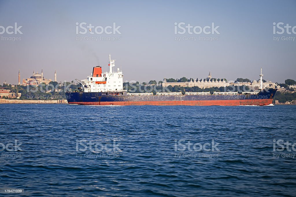 Fuel Tanker in Bosphorus royalty-free stock photo
